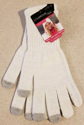 NEW Cuddl Duds Girl SIZE 7-14 Long Length Plushfill Gloves WHITE SPARKLE #32119
