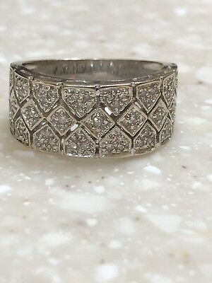 Vintage Estate 14K White Gold National Diamond Wide Band