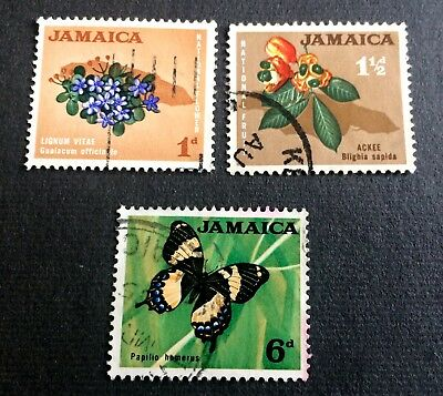 Jamaica 1964 - 3 old used stamps in Pence