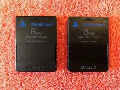 Pair Of - Sony Playstation 2 PS2 Official OEM Memory Card Magic Gate 8MB - Black