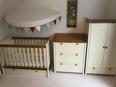 Wooden Baby Cot Bed Adjustable, Wardrobe And Changing Unit
