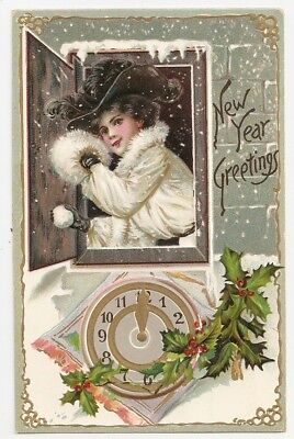 Woman throws snowball from window, clock, Happy New Year, Tuck 145 Postcard