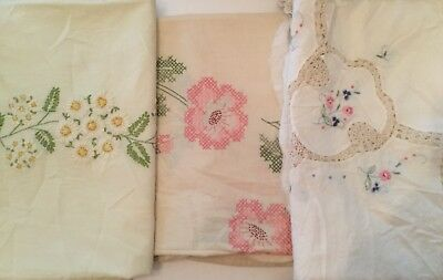 Lot Of 3 Vintage Embroidered Tablecloths - E2