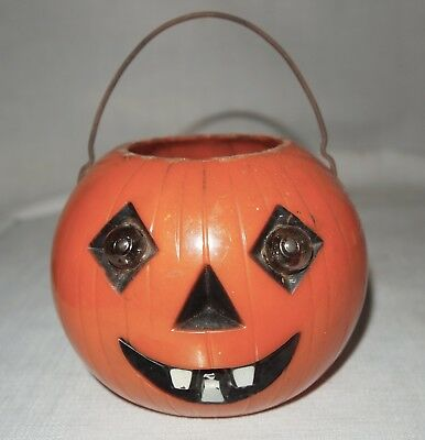 "Vintage Halloween Light Up Eyes by Capacitors 5""D 1950s? Plastic Jack O Lantern"