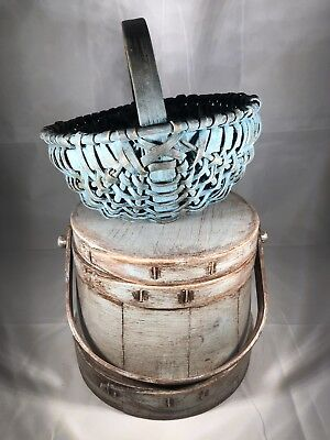 AAFA Early Blue Painted Primitive Small Buttocks Hand Woven Basket Antique 1800s