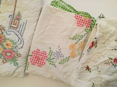 Lot Of 3 Vintage Embroidered Tablecloths - E3