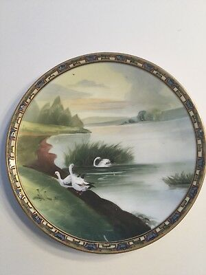 Antique Hand Painted Nippon Plate With Geese And Gold Trim 8""