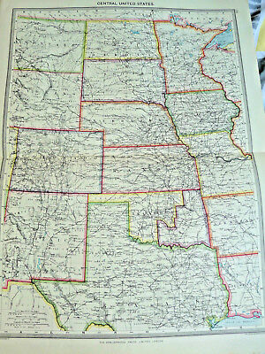 ANTIQUE MAP  1900/1908  CENTRAL UNITED STATES 15 X 22 INCH george phillips