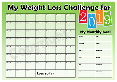 Weight Loss Challenge 2019 Chart - Keep track of your loss - Motivation - Green