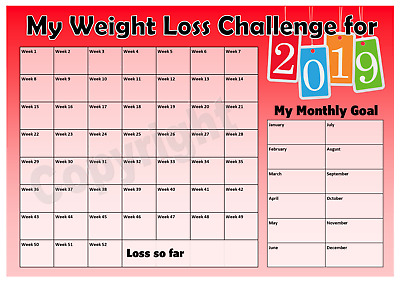 Weight Loss Challenge 2019 Chart - Keep track of your loss - Motivation - Red