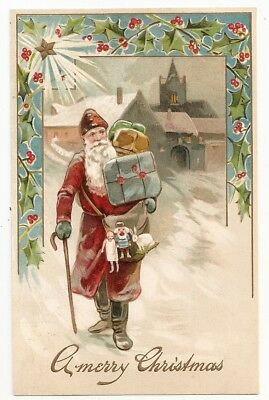 Embossed Santa cane, carries packages presents, Christmas H. 3118 Postcard