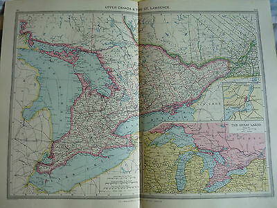 1900/1908 antique map UPPER CANADA Harmsworth Universal