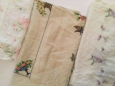 Lot Of 3 Vintage Embroidered Tablecloths - E4