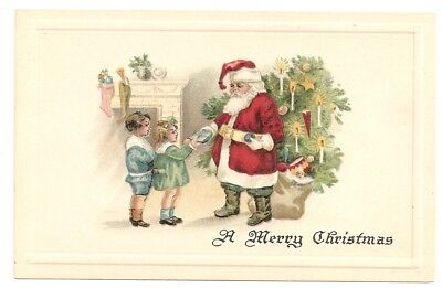 A Merry Christmas, embossed Santa, tree, hands out presents girl boy Postcard