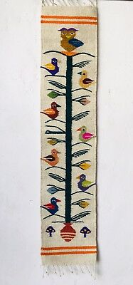Zapotec Oaxacan Hand Woven Birds Table Center Runner Wall Hanging Tapestry Rug