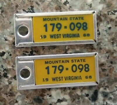 1968 Matched Pair West Virginia DAV Tag Keychain License Plates 179-098