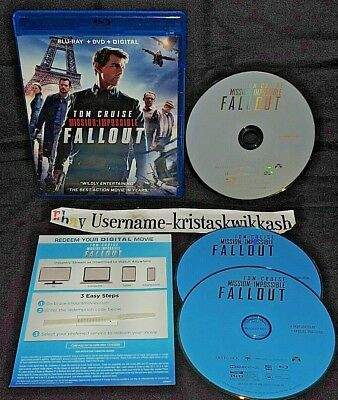 MISSION IMPOSSIBLE FALLOUT {Blu-Ray+DVD+Digital} 3 DISC SET MINT