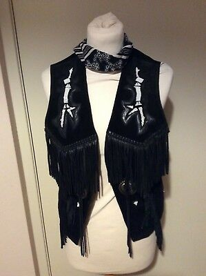 Ladies Scully Black Leather & Suede Waistcoat Size 8/10 & Bandana Line Dancing