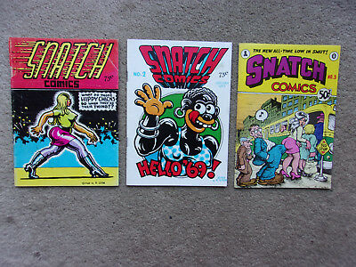 SNATCH COMICS #1, #2 and #3 Lot Of Underground Comics By R. Crumb