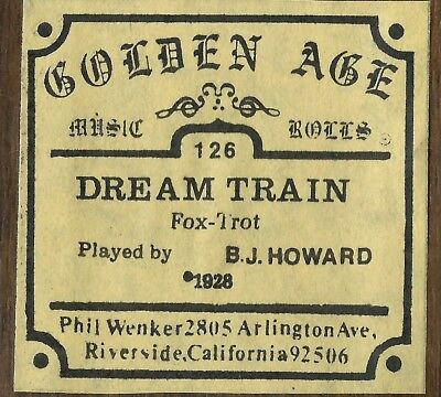 Dream Train, played by B J Howard Piano Roll recut Golden Age 126