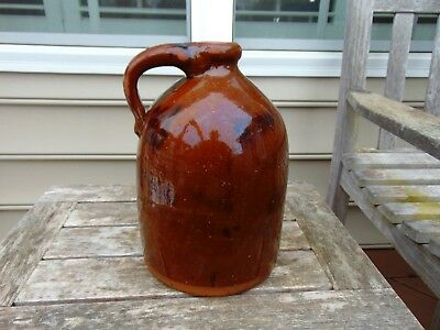 Glazed Redware Jug, Manganese over Organge-Brown, possibly, Pennsylvania 1800's