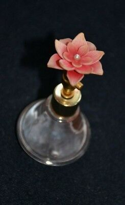 Vintage Pink Flower Perfume Glass Bottle GES Gesch  Germany