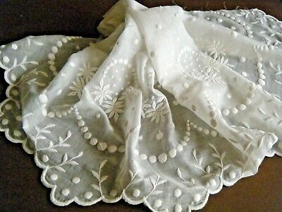 Antique Emb/ery white / white trim finest voile fabric floral design France