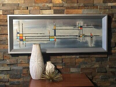 Mid Century Modern Abstract Acrylic Painting Yellow Blue Orange Silver