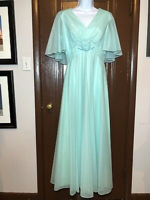 Vintage 1960's Mike Benet Formals Pastel Chiffon Evening Gown Dress Wedding Prom