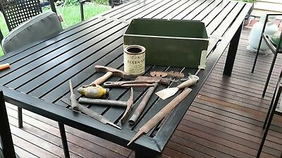 Vintage Prospecting & Shearing Tools In Lockable Metal Box