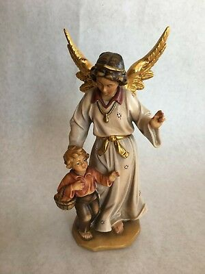 "8""+ Vintage hand carved & painted PEMA Italian Boys Guardian Angel wooden statue"