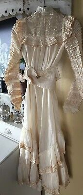 Antique Victorian Edwardian lace wedding dress gown Silk tiered layers