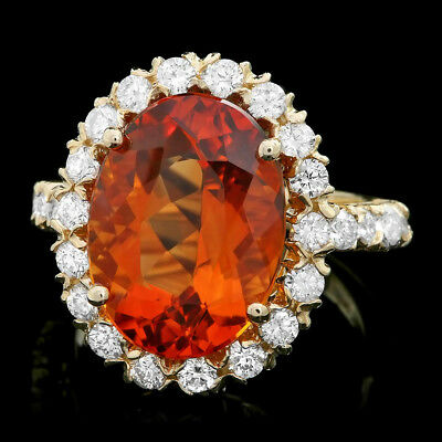 Certified 6.70cttw Mandarin Garnet 1.15cttw Diamond 14KT Yellow Gold Ring