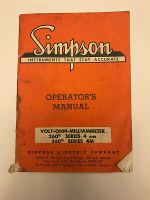 Simpson 260 Volt-OHM Milliammeter - 1964 - Series 4 and 4M Operations Manual
