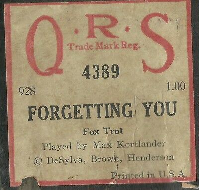 Forgetting You, played by Max Kortlander QRS 4389 Piano Roll Original