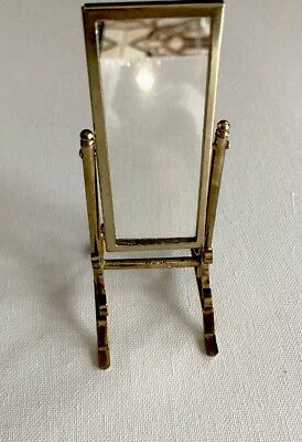 Dollhouse Miniature Brass Metal Furniture Mirror