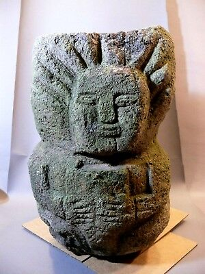 Rare Antique Pre-Columbian Carved Volcanic Stone Two-Face Offertory Alter Statue