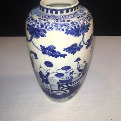 Antique Asian Chinese Japanese Blue And White Vase