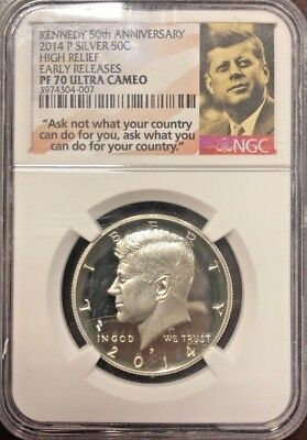 Ngc Silver Pf70 Ultra Cameo 2014 P 50C Kennedy Half Early Releases