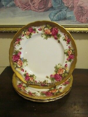 """Royal Chelsea England Golden Rose Set Of 4 Luncheon Plate 8.25"""""""