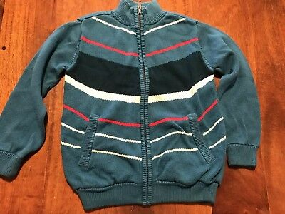 TEA Collection Teal Zip Up Vintage Look Striped Cardigan Sweater Size 6 EUC