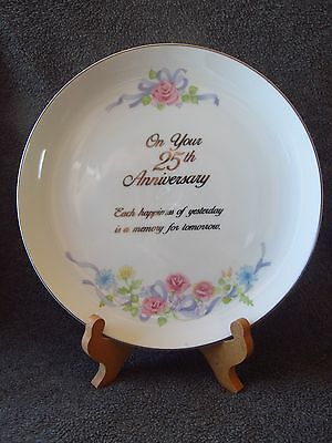 Silver 25th Anniversary Porcelain China plate by Russ Pastel floral design