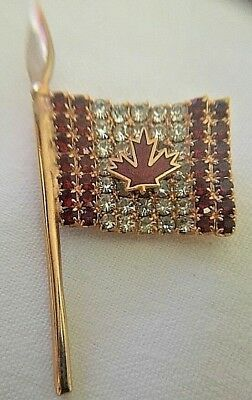+Vintage Canadian Flag Maple Leaf Pin Red White