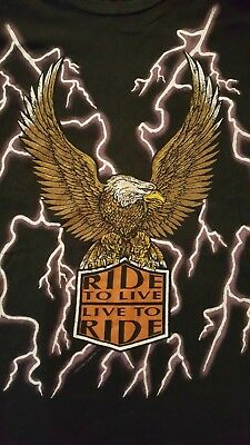 American Thunder Ride To Live Live To Ride T Shirt! Vintage! XL