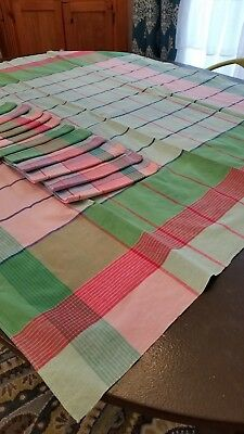 Vintage Tablecloth, Greens, Red And Pink With 13 Napkins