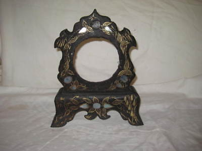 Antique Victorian Cast Iron Clock Case, crusty black with mother of pearl, as is