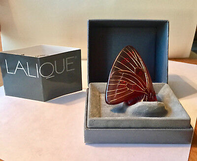 Lalique Nacre Butterfly Crystal Figurine Motif Rouge * France * In Original Box