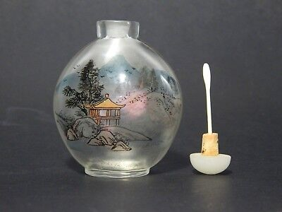 Japanese Hand Painted Glass Snuff Bottle with Spoon