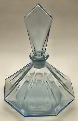 Original Light Blue Art Deco Glass Perfume Bottle / Flask - Poss Czech?