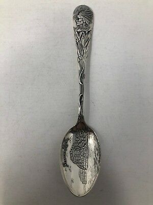 Watson Sterling Silver Souvenir Spoon Indian Starved Rock Park Illinois